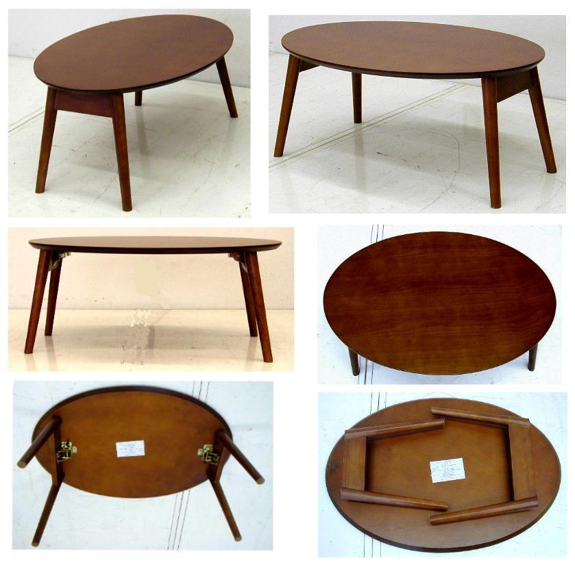 折りたたみテーブル だ円形 幅75 奥行50濃い茶色 7.0kg[オーバルテーブル OT-7550 Dブラウン]
