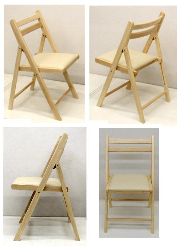 木製 折りたたみ椅子 レザー座ナチュラル 5.0kg[NO.368 ナチュラル]