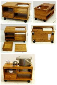木製のポットワゴン ST 木目6.8kg[ポットワゴン ST No.5030]キャスター付き 移動 和室
