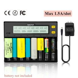 Miboxer(マイボクサー) 電池充電器 18650 充電器 ミニ四駆 電池 【 1.5A 充電可能 8スロット独立 】 Mi-C8