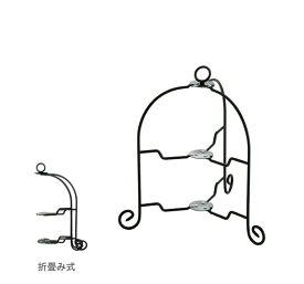 『ドルチェ フォールダブル ケーキスタンド2段 BK』【TEA&COFFEE ケーキスタンド スタンド パーティー インテリア 雑貨】
