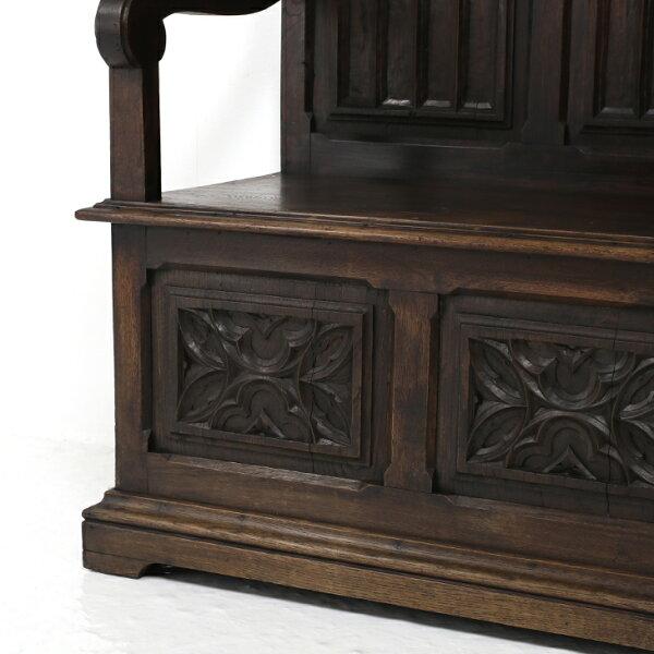 【アンティーク家具】【アンティーク】【ベンチ】ホールベンチ椅子チェアトールサイズゴシックフランスフレンチ輸入輸入家具本物アンティーク1880年代彫刻装飾アンティークゴシックトールホールベンチGothicTallHallBench33108