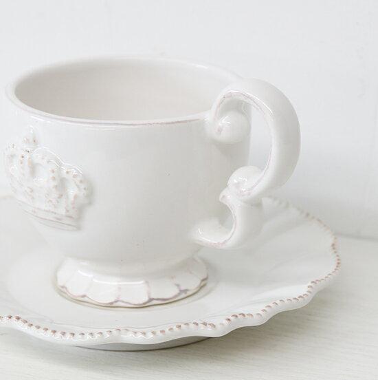 アンティーク雑貨アンティークアンティーク風シャビーシックフレンチ白いお皿白いカップ白いカップ&ソーサー陶器王冠レリーフホワイトクラウンカップ&ソーサー1342