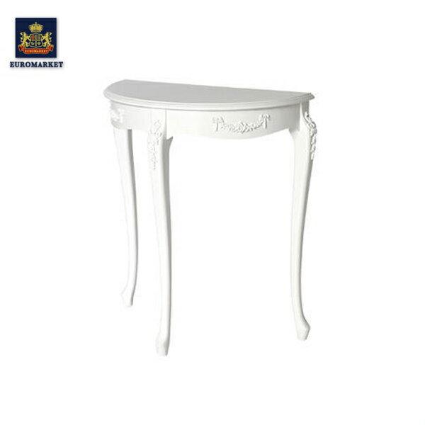 アンティークホワイトフレンチコンソールテーブル Mサイズ エレガントな彫刻に素敵な猫脚 店舗什器 4119-M-18