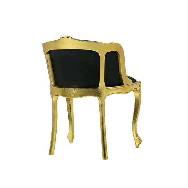 ギルディング(ゴールド)フレームロココシングルチェアダイニングチェア食卓椅子イス猫足猫脚アンティークアンティーク家具調クラシックヴィンテージビンテージレトロフランスイタリアゴールド金色金箔ゴージャスプリンセス本革レザー6090-10L6