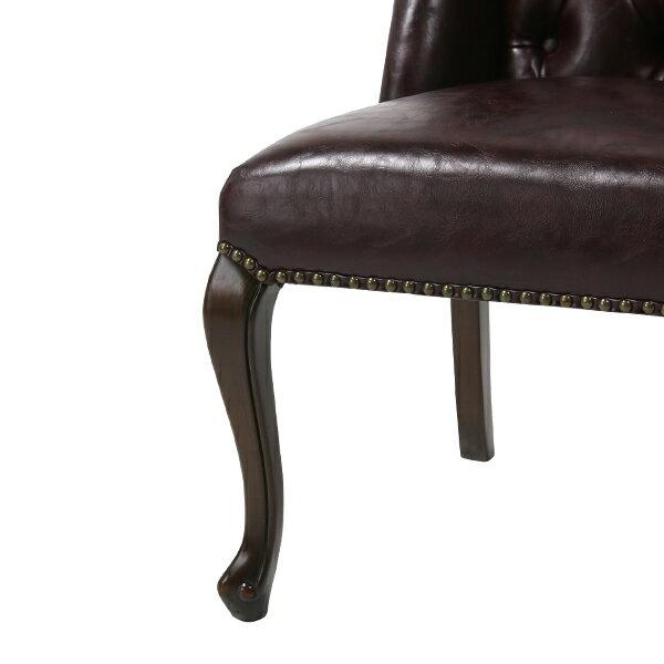 ダークブラウンPUレザーカブリオールレッグウイングバックチェアパーソナル椅子イス猫脚猫足英国イギリスアンティーク調ヴィンテージビンテージ木製家具PUレザー調合成皮革ブラウン茶色9013-5P38B