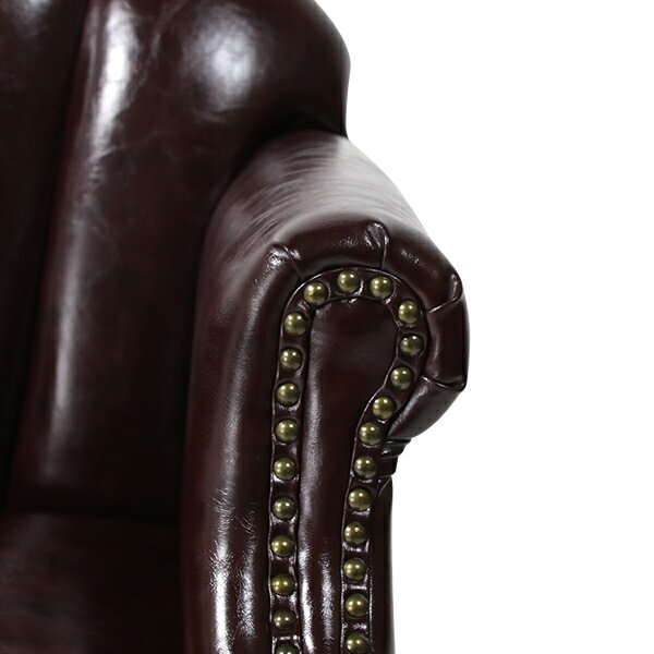 ダークブラウンPUレザーシェルアームチェアShellfa(シェルファ)ソファソファーアームチェア一人掛け1人掛け合成皮革本革調レザー調アンティーククラシックシェル貝殻モチーフヴィンテージビンテージブラウン6096-8P38