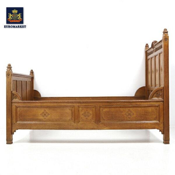 【アンティーク】【アンティーク 家具】 ベッド ベッドフレーム 木 現状渡し DIY ゴシック 本物 アンティーク 彫刻 お花 クロス 十字架 お花の 彫刻が 可愛い 素敵な ゴシックカーブドベッドフレーム Gothic Carved Bed Frame 32364