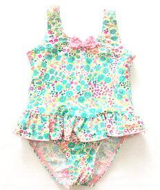 女の子 ワンピース水着 子供 水着 つなぎ キッズ ベビー ピンク 花柄 フラワー リボン フリル フリフリ スイムウェア スイミング プールや海に 80cm 90cm 100cm 110cm