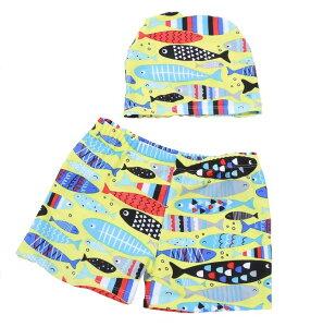 男の子 海パン キッズ 子供 水着 トランクス 上下 2点セット 帽子セット スイムキャップセット スイムウェア スイミング プールや海に 魚 フィッシュ イエロー ボーイ 90cm 100cm 110cm