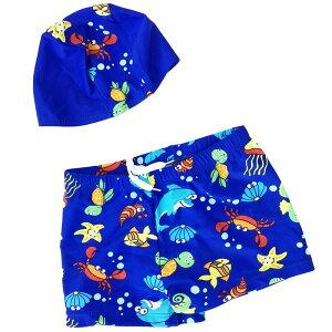 男の子 海パン キッズ 子供 ベビー 水着 2点セット トランクス 帽子セット スイムキャップセット スイムウェア スイミング プールや海に♪ たつのおとしご カニ イルカ 亀 カメ お魚 さかな