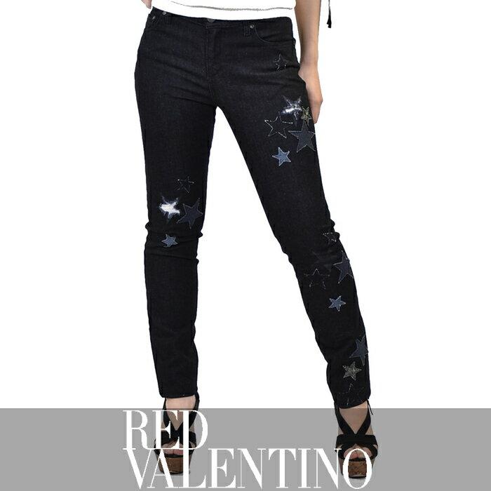 レッド ヴァレンチノ ダメージ スリムジーンズ RED VALENTINO NR3DE01C369 ブラック【ポッキリ企画】【レディース】