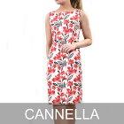 カネッラ ノースリーブワンピース CANNELLA 106201 フラワープリント ポッキリ