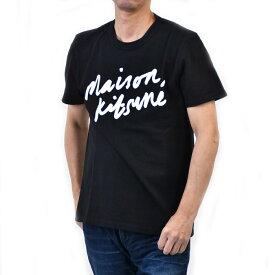 メゾン キツネ プリントTシャツ MAISON KITSUNE AM00104KJ0008 HANDWRITING ブラック