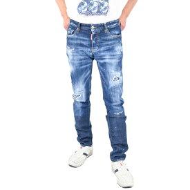 ディースクエアード ジーンズ DSQUARED2 S74LB0688 S30342 Jeans Slim Fit Distressed con Ver ブルー 父の日 ギフト