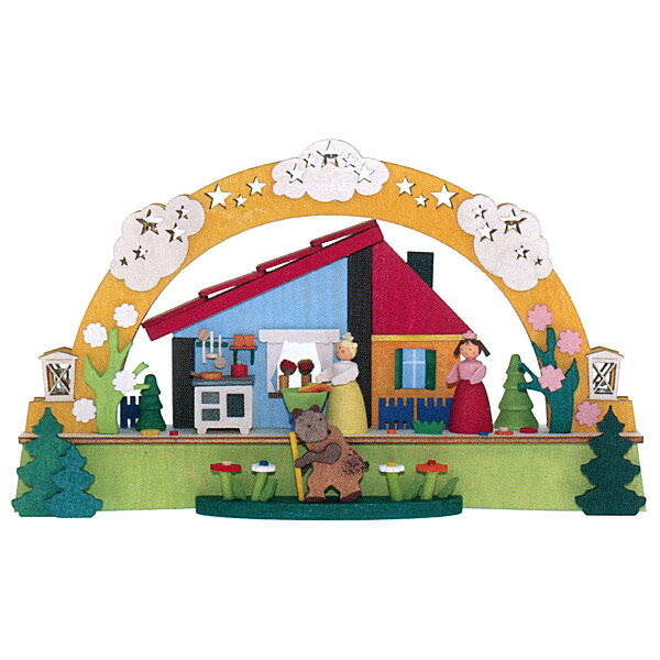 Graupner グラウプナー社 LEDライト付シュヴィップボーゲン 白雪とベニバラ〜グラウプナー社製のグリム童話『白雪姫』がテーマのアーチ型キャンドルスタンド「シュヴィップボーゲン」です。5個のLEDライトが内蔵されていて、優しく暖かに灯ります。