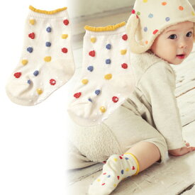 【 ★ ポイント10倍 ★ 】[メール便可] NAOMI ITO ナオミイトウ POCHO くつした キナリ〜NAOMI ITOの立体的な水玉模様が可愛らしい赤ちゃん用の靴下(ベビーソックス)です。