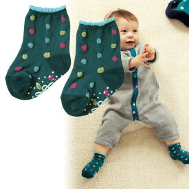 【 ★ ポイント10倍 ★ 】[メール便可] NAOMI ITO ナオミイトウ POCHO くつした グリーン〜NAOMI ITOの立体的な水玉模様が可愛らしい赤ちゃん用の靴下(ベビーソックス)です。
