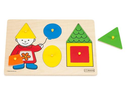 [メール便可] BorneLund ボーネルンド ピックアップパズル ファースト シェイプパズル〜ボーネルンド・オリジナルの指先遊び、初めてのパズル遊びにオススメの木製ピックアップパズル。かたちの認識を促すのに最適のパズルです。