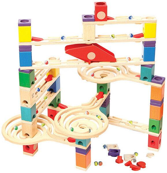 BorneLund ボーネルンド NEW クアドリラ・ツイスト&レールセット〜ピタゴラ装置みたいなおもちゃ。バリエーション豊かなスロープでビー玉の動きが楽しめるクアドリラの応用セットです。