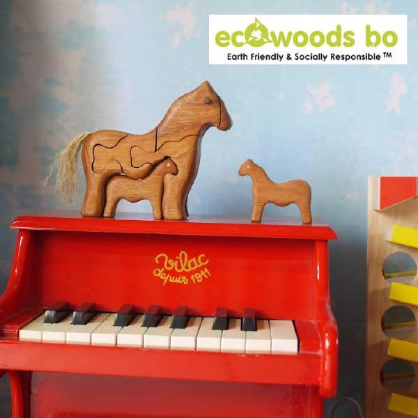 【 50% オフ 半額 セール SALE 】Ecowoods BO エコウッズ社 3Dパズル ウマの親子〜自然素材、エコウッドを使用した馬の親子の木製立体パズル『エコウッド 3D パズル』です。林業において使い道のない小さな木材を再利用して作っているパズルです。