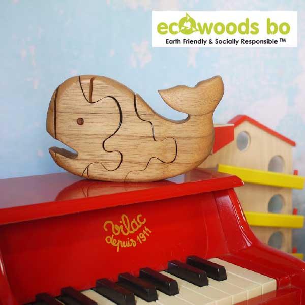 【 50% オフ 半額 セール SALE 】Ecowoods BO エコウッズ社 3Dパズル くじら〜自然素材、エコウッドを使用したクジラの木製立体パズル『エコウッド 3D パズル』です。林業において使い道のない小さな木材を再利用して作っているパズルです。