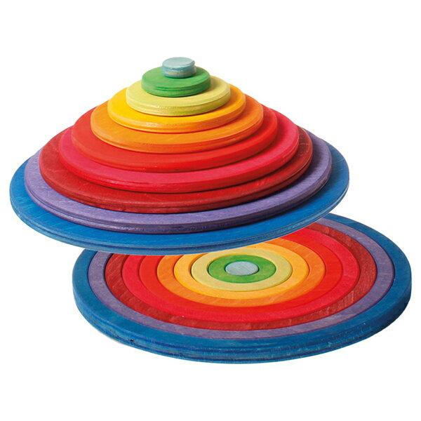 Grimm's Spiel & Holz Design グリムス社 円盤とリング 20P〜ドイツ、グリムス社のカラフルな円盤型とリング型の積み木。平面はもちろん、立体や空間の遊びへと発展できます。