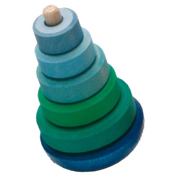 Grimm's Spiel & Holz Design グリムス社 ぐらぐらタワー ブルー〜ドイツGrimm's(グリムス社)の底が丸くなったゆらゆら揺れるスタッキングタワー。コマのように回して遊べます。