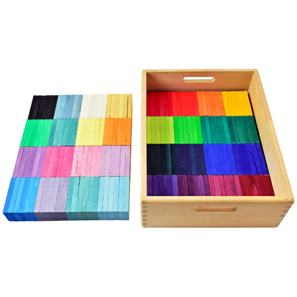 Grimm's Spiel & Holz Design グリムス社 GMドミノ積み木 木箱入り 192P〜ドイツ、グリムス社の32色のグラデーションで構成された色鮮やかなレインボーカラーのドミノ積み木です。