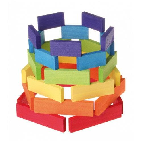 Grimm's Spiel & Holz Design グリムス社 ドミノ積み木 小 カラー 30P〜ドイツ・グリムス社の美しい色彩の板状のドミノ積み木30ピースセット。集中力、想像力、手先の訓練に最適のシンプルな形の積み木です。