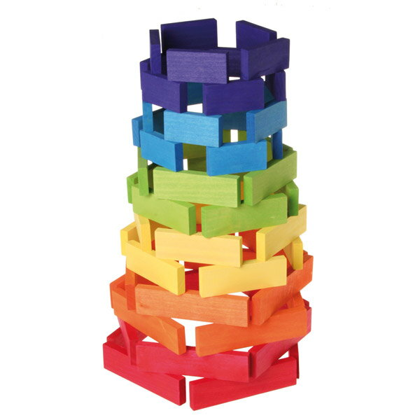 Grimm's Spiel & Holz Design グリムス社 ドミノ積み木 大 カラー 60P〜ドイツ・グリムス社の美しい色彩の板状のドミノ積み木60ピースセット。集中力、想像力、手先の訓練に最適のシンプルな形の積み木です。
