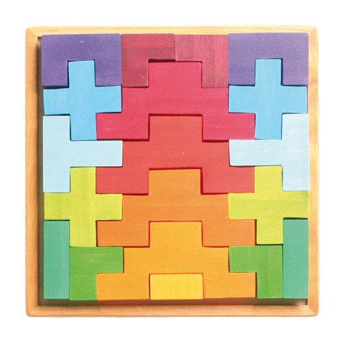 Grimm's Spiel & Holz Design グリムス社 階段積み木 カラー 19P〜ドイツ・グリムス社の美しい色彩の積み木19ピースセットです。積み上げたり、いろいろな造形物が作れます。