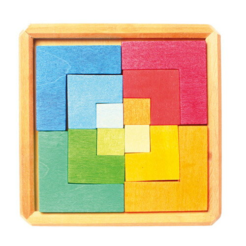 Grimm's Spiel & Holz Design グリムス社 クリエイティブパズル 四角形 12P〜ドイツ・グリムス社の美しい色彩の木製パズル12ピースセット。幾何学的な図形を作って創造的に遊べます。