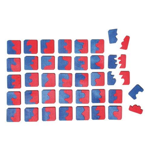 Grimm's Spiel & Holz Design グリムス社 マッチングタイル 72P〜ドイツ・グリムス社の赤と青のピースの形合わせパズルです。凸面と凹面を組み合わせて、四角形を作りましょう!