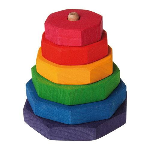Grimm's Spiel & Holz Design グリムス社 タワーつみき 多角形〜ドイツ・グリムス社の大小の積み木と土台となる棒の付いたパーツからなる積み木です。シンプルでも奥が深いおもちゃです。