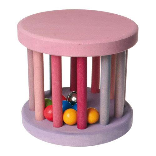 Grimm's Spiel & Holz Design グリムス社 虹のドラムロール ベービーローラー ピンク〜ドイツ・グリムス社の転がすとカラカラ♪楽しい音がする赤ちゃんの木のおもちゃです。