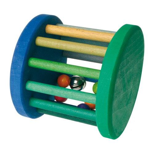 Grimm's Spiel & Holz Design グリムス社 虹のドラムロール ベービーローラー 青&緑〜ドイツ・グリムス社の転がすとカラカラ♪楽しい音がする赤ちゃんの木のおもちゃです。