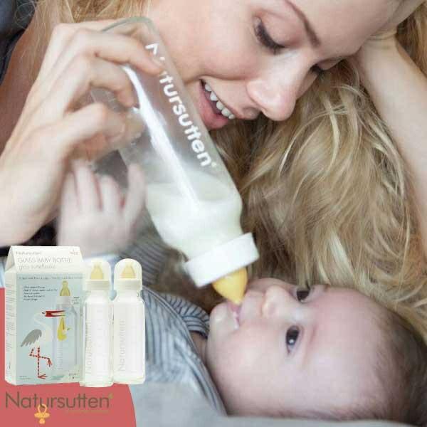 Natursutten ナチュアスッテン ガラス哺乳瓶 2本セット ミルクボトル哺乳瓶 ミルクボトル ガラス製 おしゃぶり 天然ゴム ベビー 赤ちゃん ラテックス 出産祝い ハーフバースデー プレゼント ギフト 人気