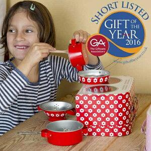 sass and bell サス アンド ベル クッキングボックスセット レッドデイジー 3歳、4歳の女の子のお誕生日プレゼント、クリスマスギフトに人気の、食材があればすぐに遊べる、鍋、フライパン、
