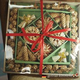 Kimmerle キマール社 クリスマス ストローオーナメント&ガーランド セット 赤糸 6-12cm 木箱入