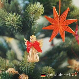 クリスマス ストローオーナメント 天使 4-5cm 赤糸