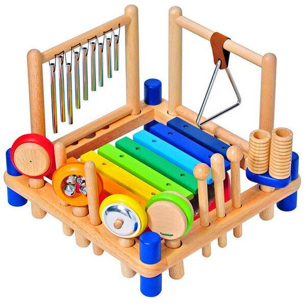 I'm Toy アイムトイ ミュージックステーション〜アイムトイの9種類の楽器が1台で遊べる木製楽器玩具ミュージックステーション!お子さまの好奇心を満足させてくれる楽器玩具です。