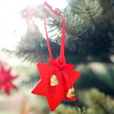 [メール便可] Kimmerle キマール社 クリスマス 木製オーナメント 星ベル付 赤 5cm〜ドイツ・キマール社のベルの付いた…