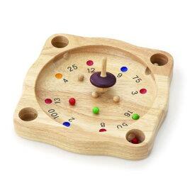 平和工業 PINTOY ルーレット〜タイのPINTOYの木製ルーレットゲームです。6個の木玉を中央に置いてコマを回します。