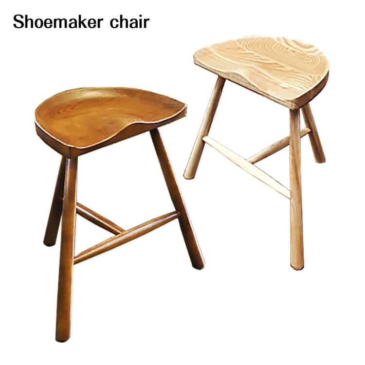 【送料無料】シューメーカーチェア/ナチュラル/ウォールナット(背もたれなし リビング スツール 椅子 リプロダクト ジェネリック家具 ラース ワーナー) 週末ポイント5倍