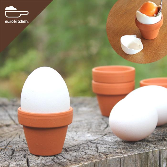 【陶器製エッグスタンド】ユーロキッチン eurokitchen 素焼き鉢のエッグスタンド3個セット(Unglazed Egg Cups エッグカップ)ドイツ製【プレゼントにもおすすめ・小さい・かわいい】【エッグスタンドエッグホルダーエッグカップ卵立てたまご台半熟卵】