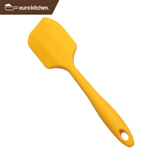 ユーロキッチン eurokitchen 一体型シリコンスパチュラ フィン型 中 黄(イエロー)シリコンへら【パン作りにおすすめ ハンドクリーナー 一体型 一体式 シリコン シリコーン オールシリコン】