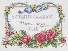 """Janlynn クロスステッチ 刺繍キット""""青いリボン""""ウェディングボードむけ            Janlynn Cross Stitch Kit 8-Inch by 10-Inch Married This Day           Janlynn クロスステッチキット Married This Day 【並行輸入品】"""