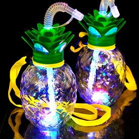 【ケース販売】光るパイナップルボトル ストラップ付 120個入(6×10×2)(電球ボトル類似品 光る容器)