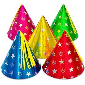 【大人・子供兼用サイズ】スタースノーホイル帽子【小】 【三角帽子 とんがり帽子 トンガリ帽子 パーティー 子供会】